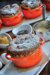 CHOCOLATE-BANANA SOUFFLE WITH PEANUT BUTTER CREME ANGLAISE
