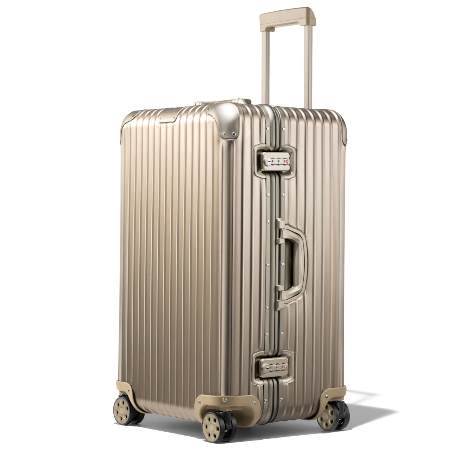 travel gift guide holiday gift guide rimowa original trunk hardshell suitcase in titanium
