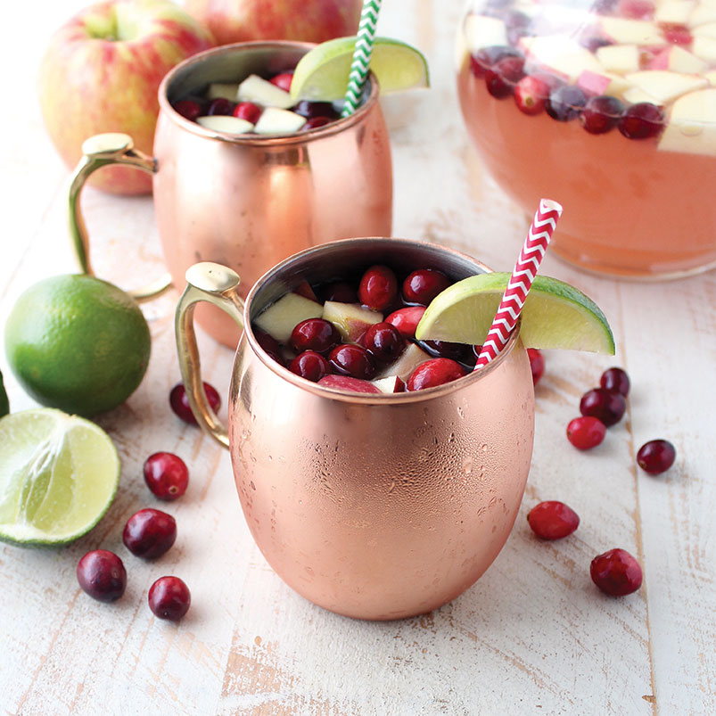 Whitney Bond's Thanksgiving-inspired holiday cocktail cranberry apple moscow mule punch