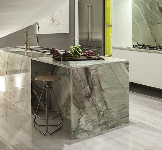 waterfall countertops kitchen island