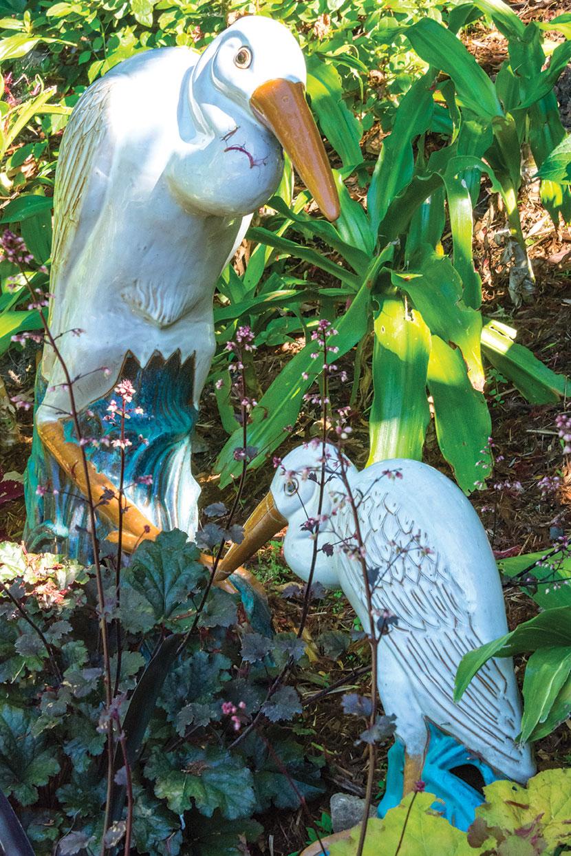 Crane statues in a meditation garden