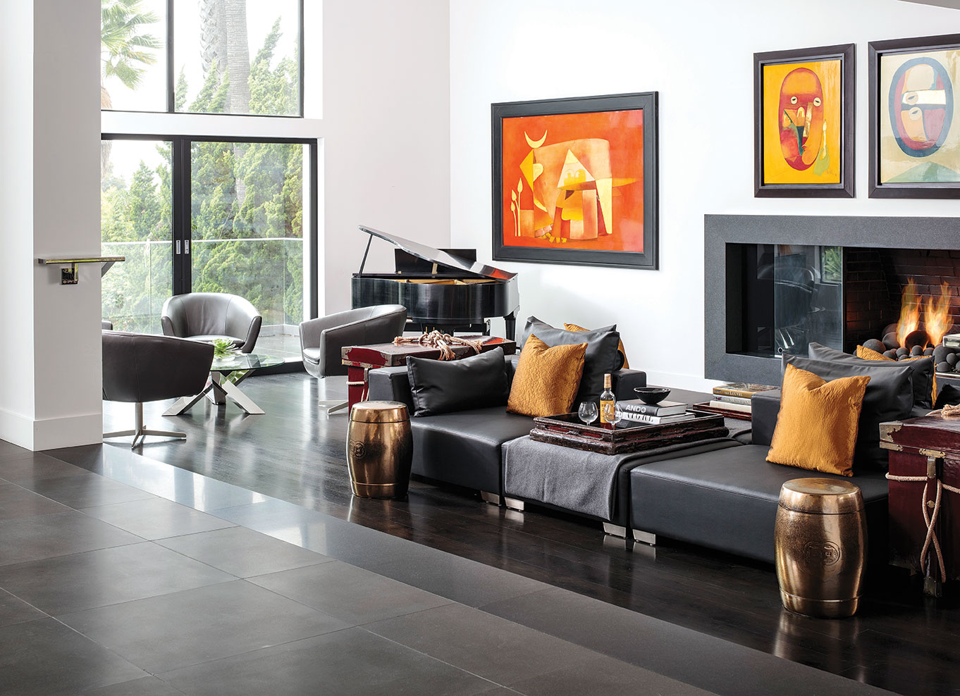 black basalt fireplace and lounging room