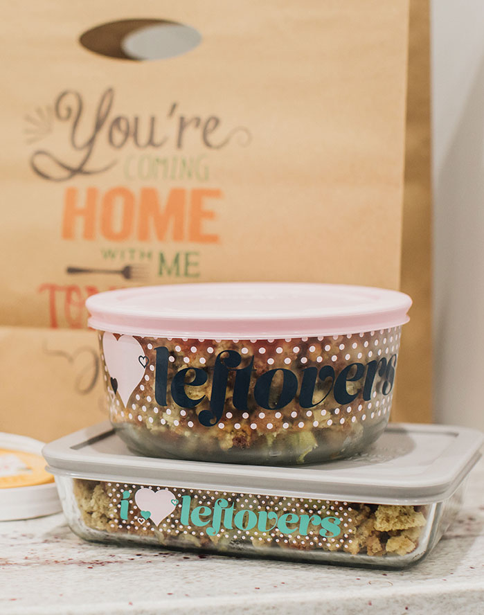Whitney Bond's containers to use for Thanksgiving leftovers