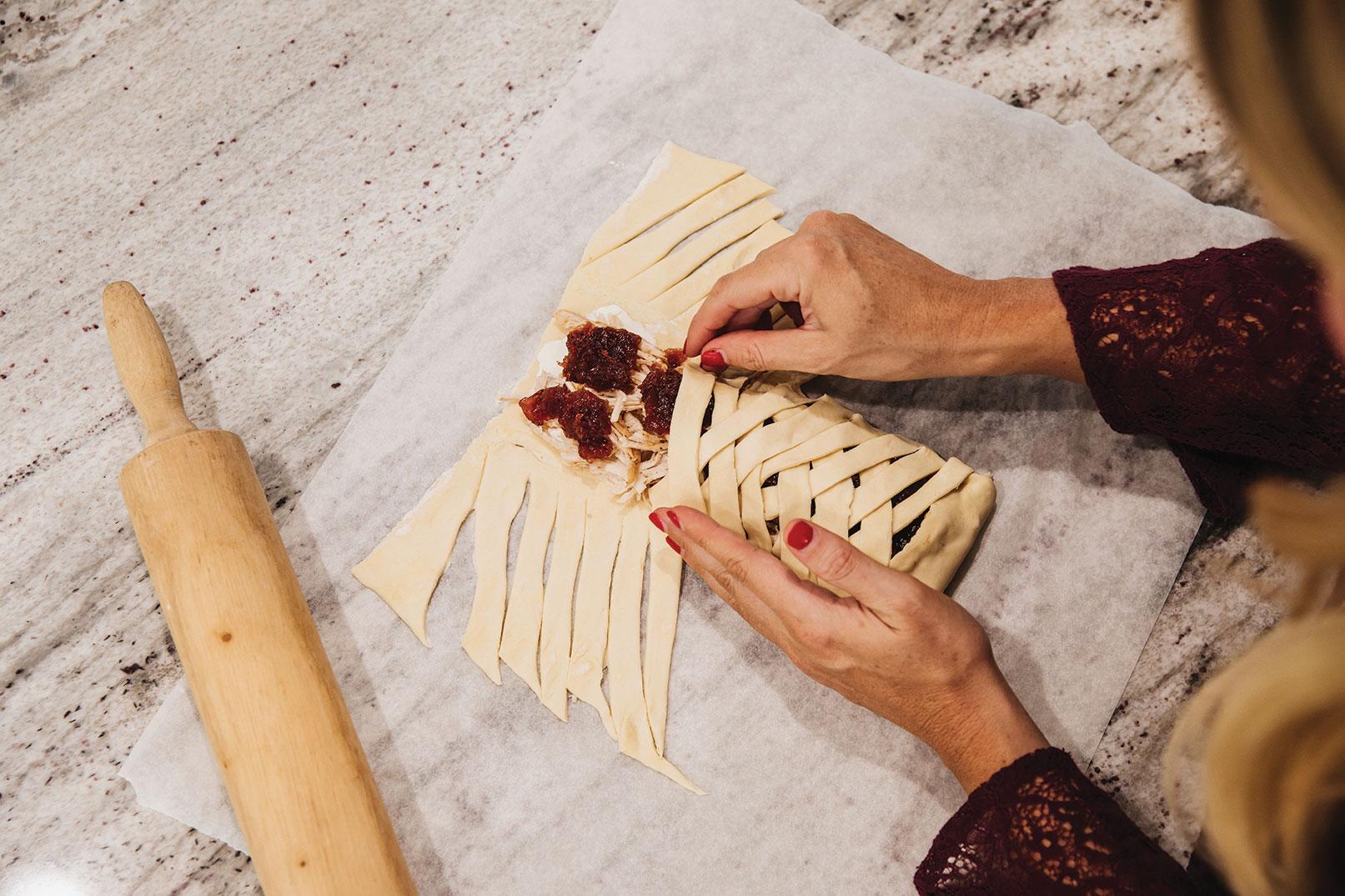 Crisscross the dough over the filling