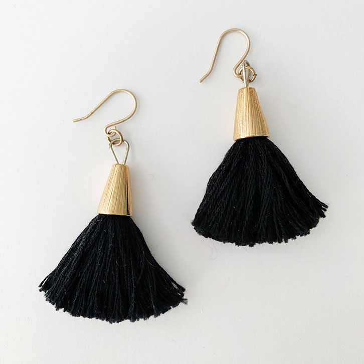 fashion gift guide holiday gift guide natalie borton bridget tassel earrings black