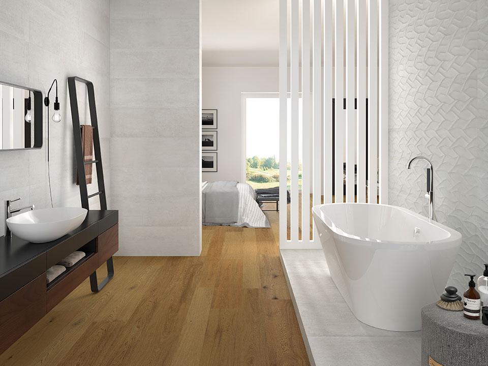 white bathroom tile porcelanosa