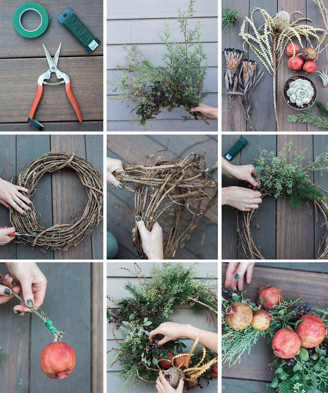 DIY wreath instructions how to Native Poppy Natalie Gill holiday