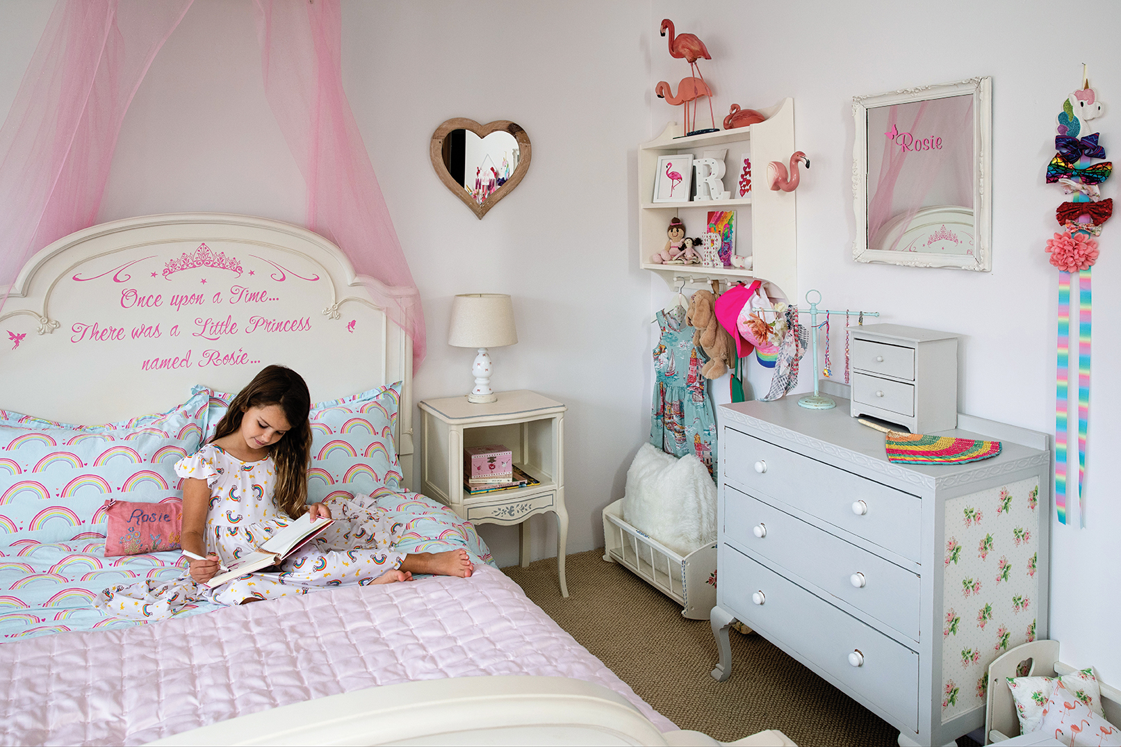 english country style girls room childrens room pink rainbows