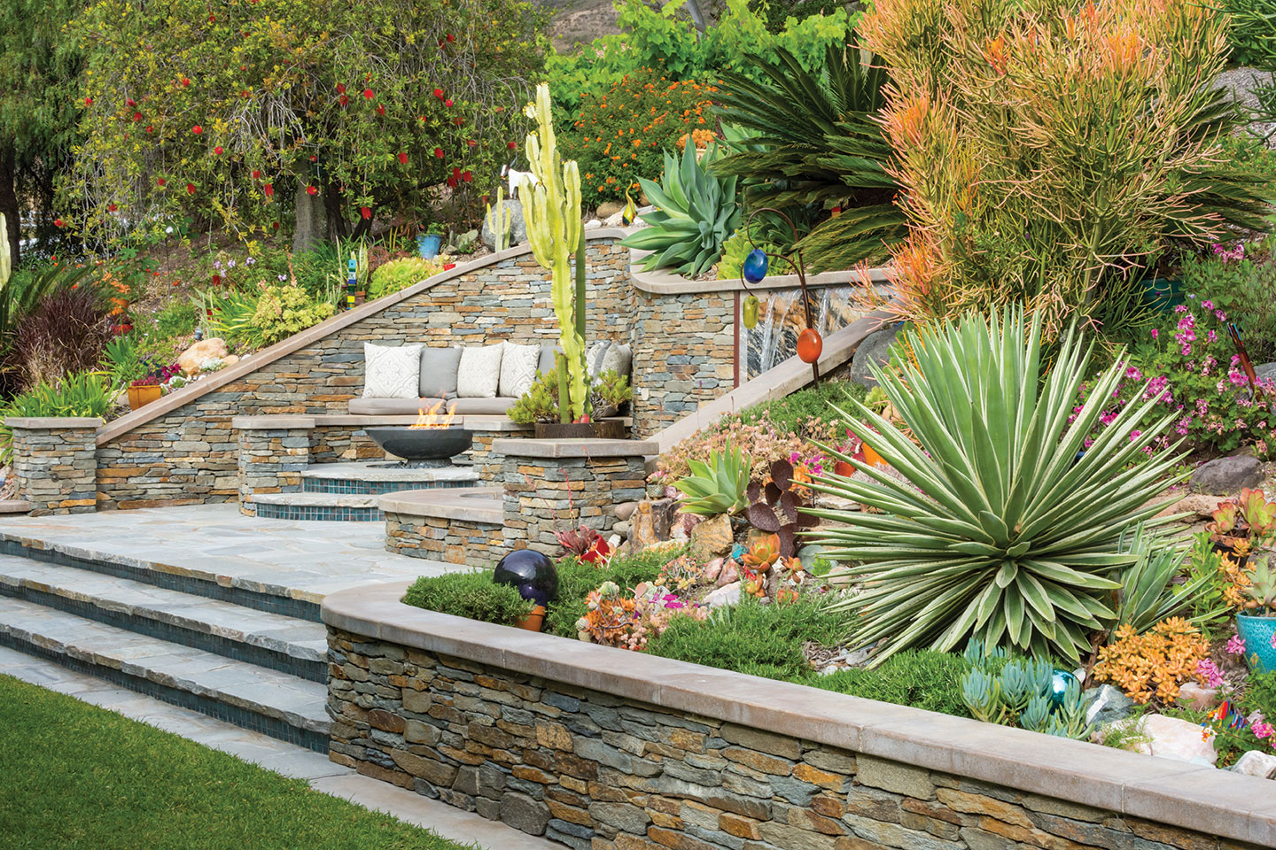 DIY landscape spa waterfall stack stone flagstone fire feature