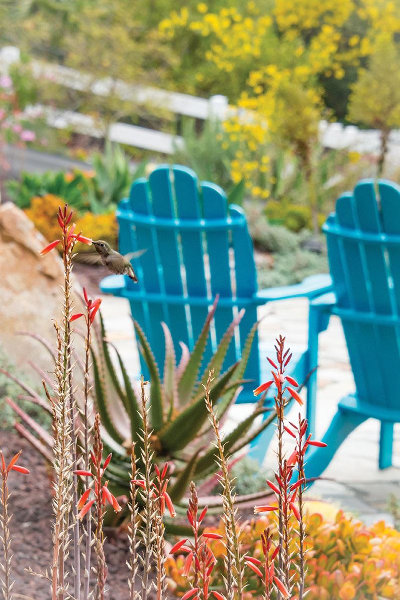 DIY landscape garden hummingbird painted adirondack chairs