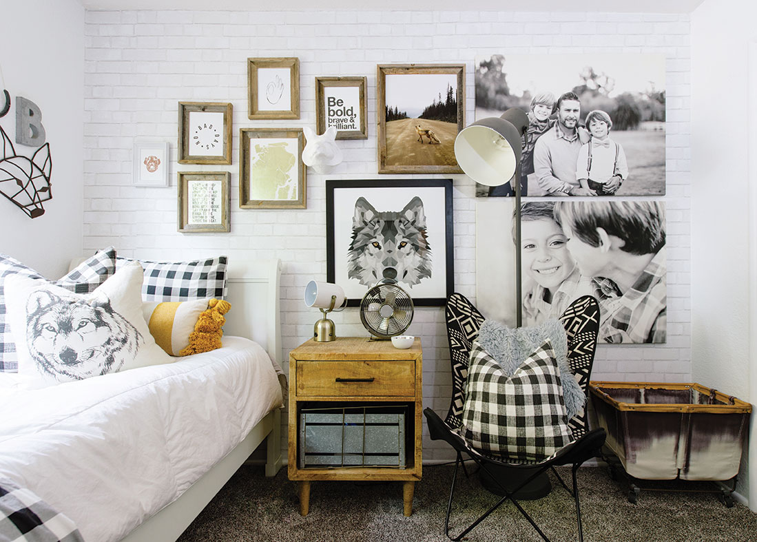 small space tips: gallery wall kid room art wolves