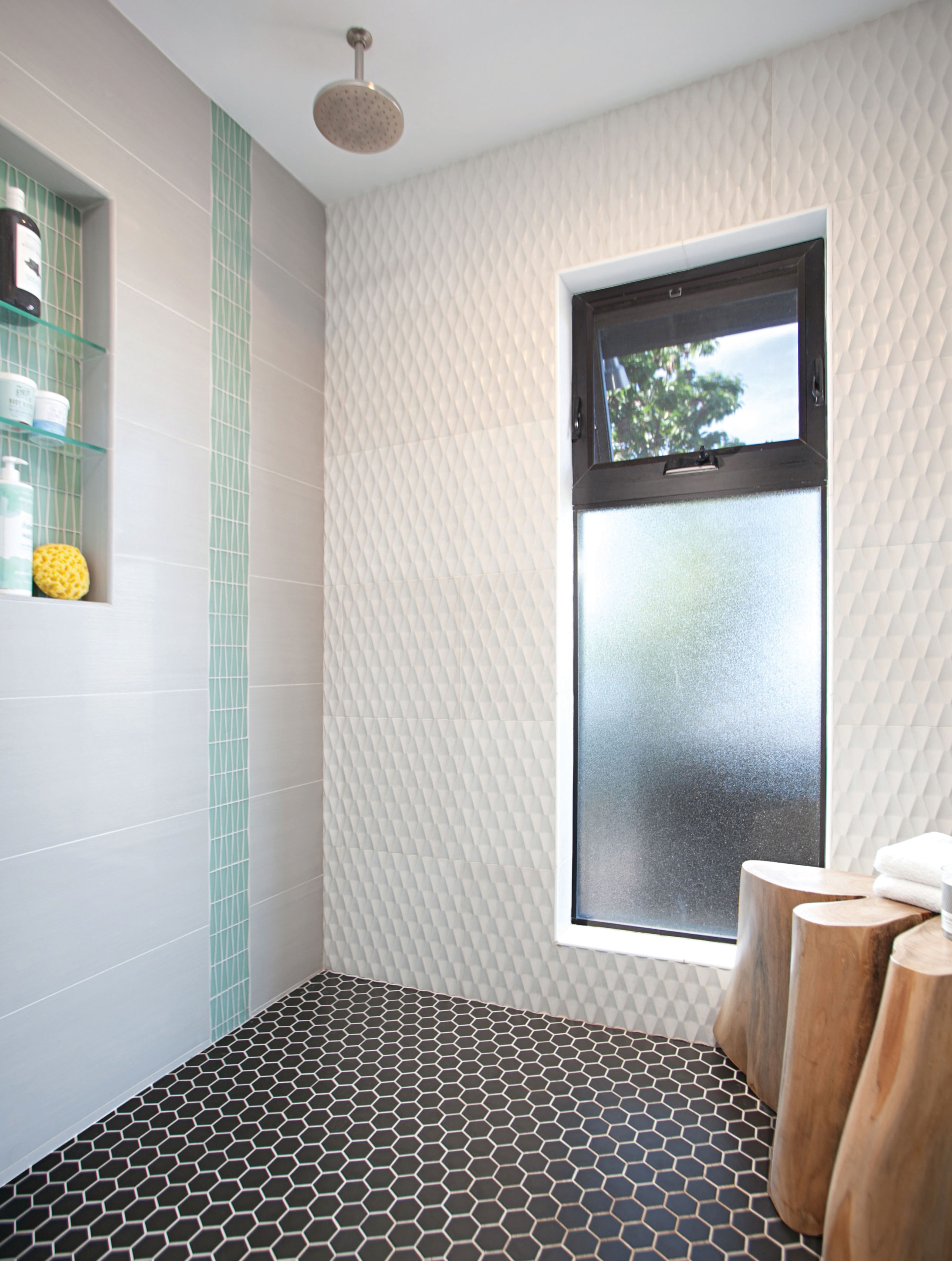 mixed tile bathroom