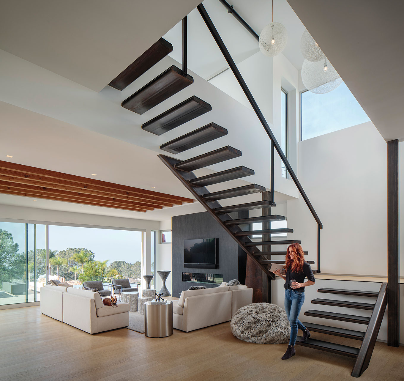 open living floating staircase san diego torrey pines