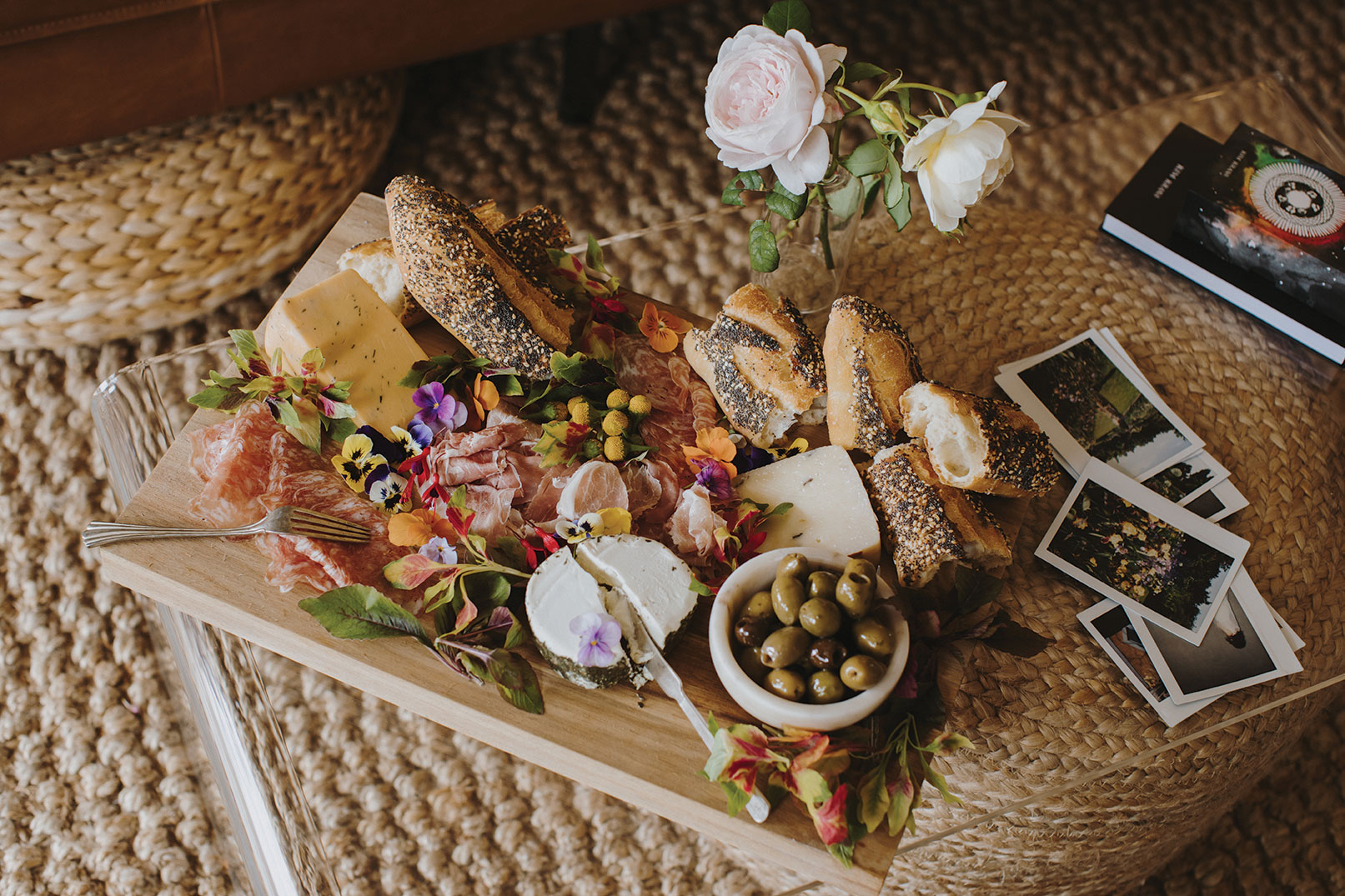 natalie gill flower edible flowers charcuterie board