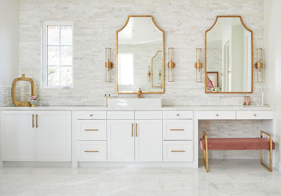 jaki yermian bathroom brass gold pink