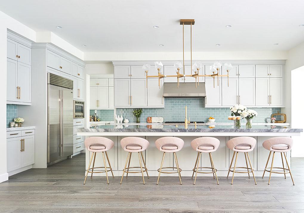 jaki yermian kitchen pink barstools brass fixtures