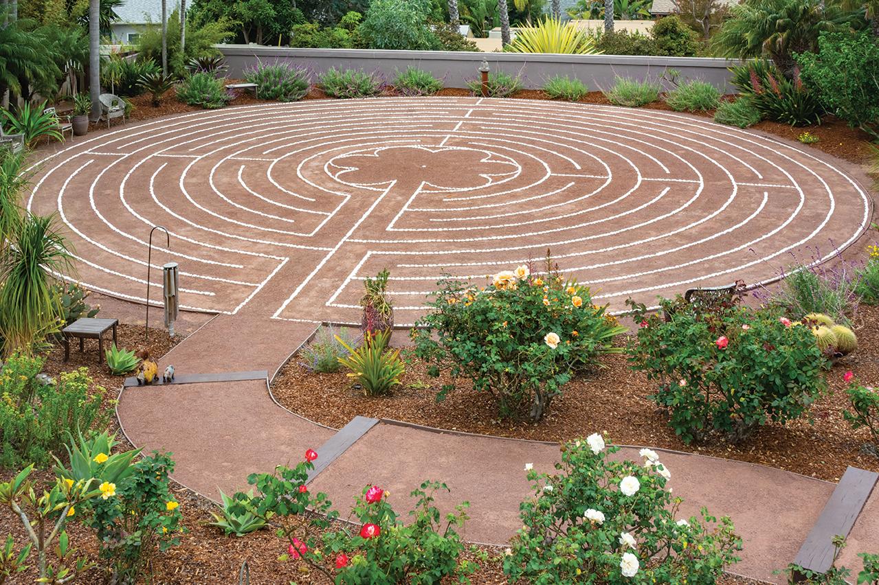 labyrinth garden lap pool decomposed granite dg