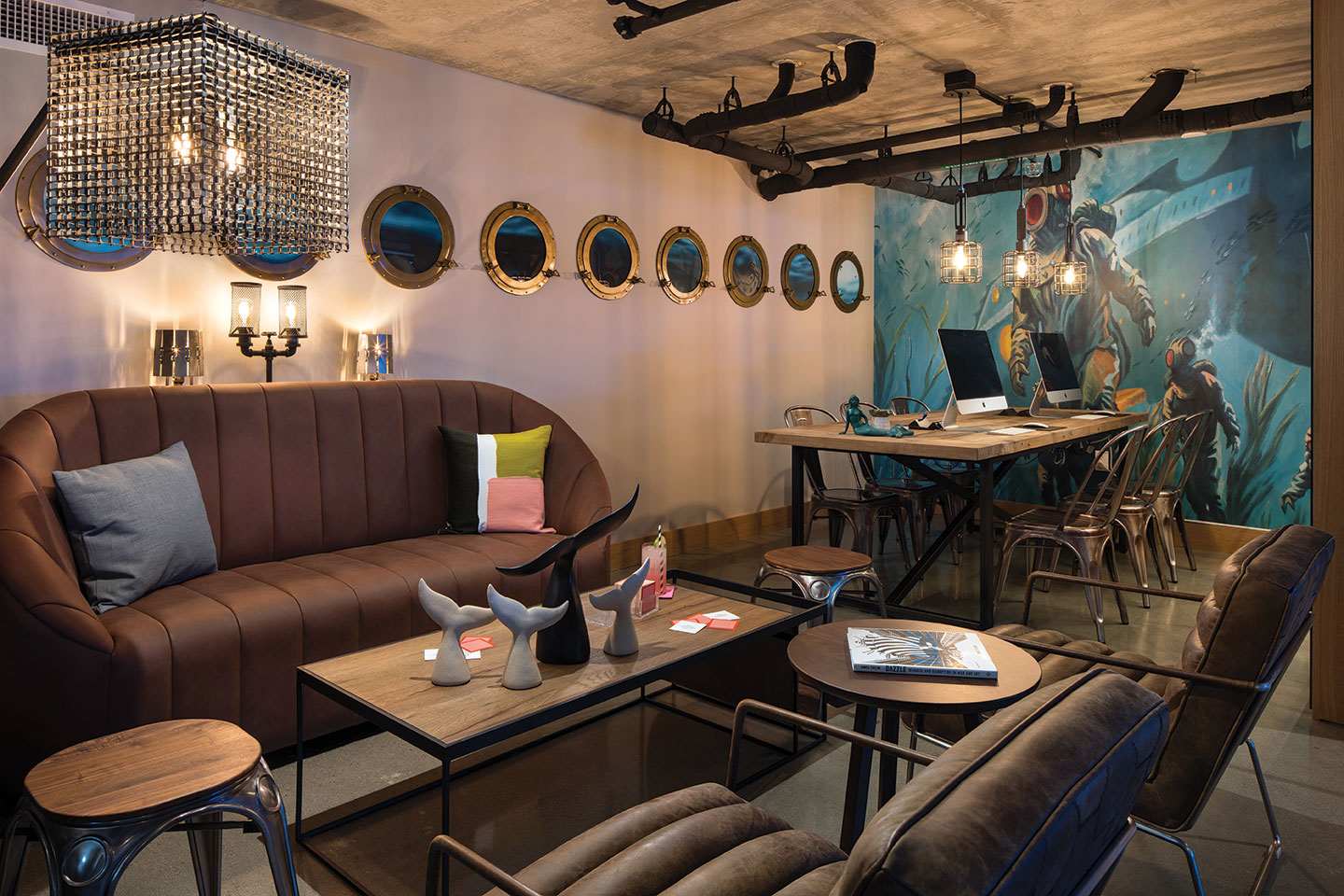 Moxy San Diego Marriot hotel design nautical portholes mural