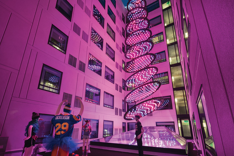 moxy san diego hotel design pink light fixture