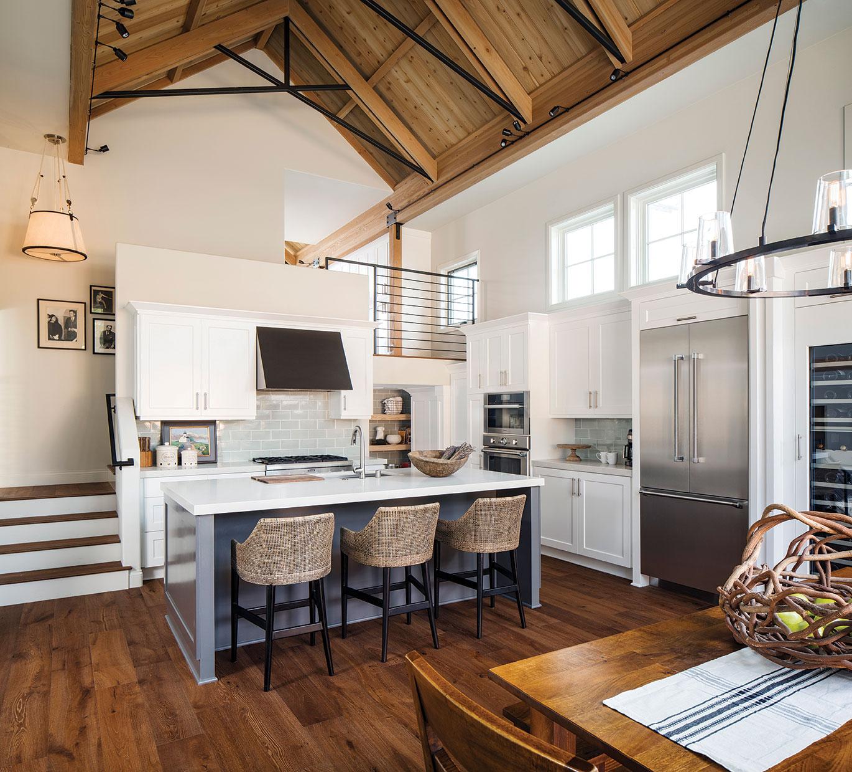 cedar ceiling in an open floor plan kitchen dining room in san diego leucadia with a loft