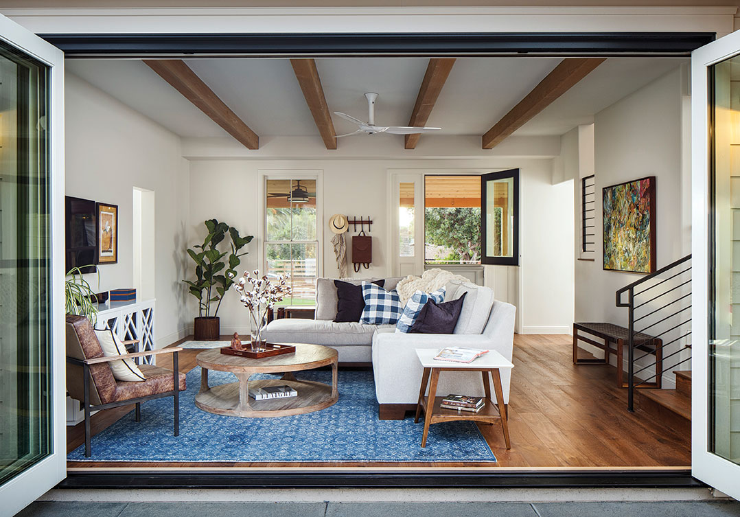 living room with family-friendly kid-friendly fabrics in a plush, durable couch kid remodel