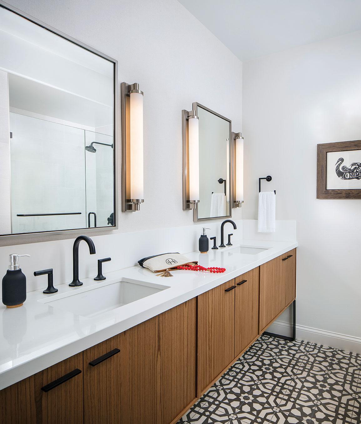 medallion tile bathroom floor modern black and white