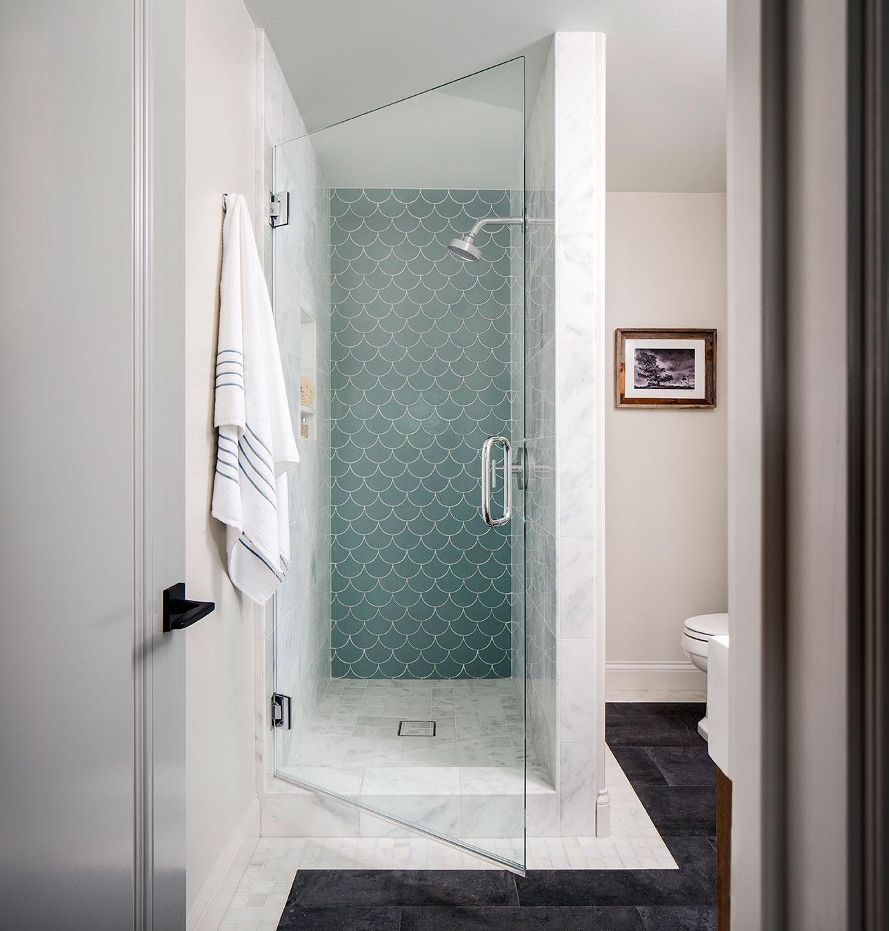 loft bathroom scalloped ocean blue handmade tile shower