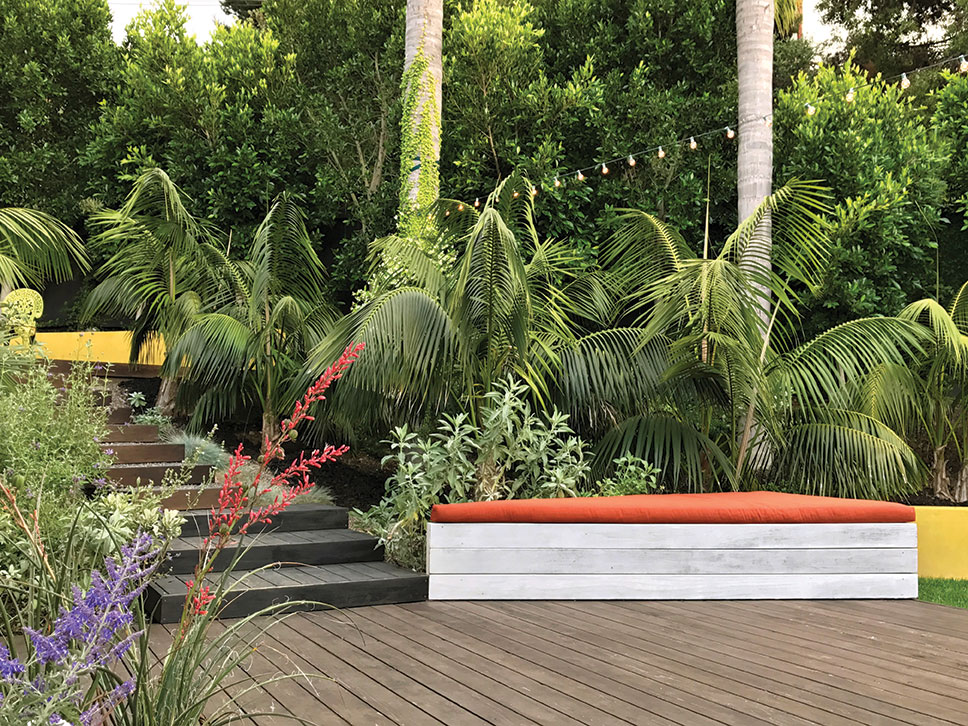 brightly colored garden seat with mama mia garden lights hung between palm trees by Burle Yates Design