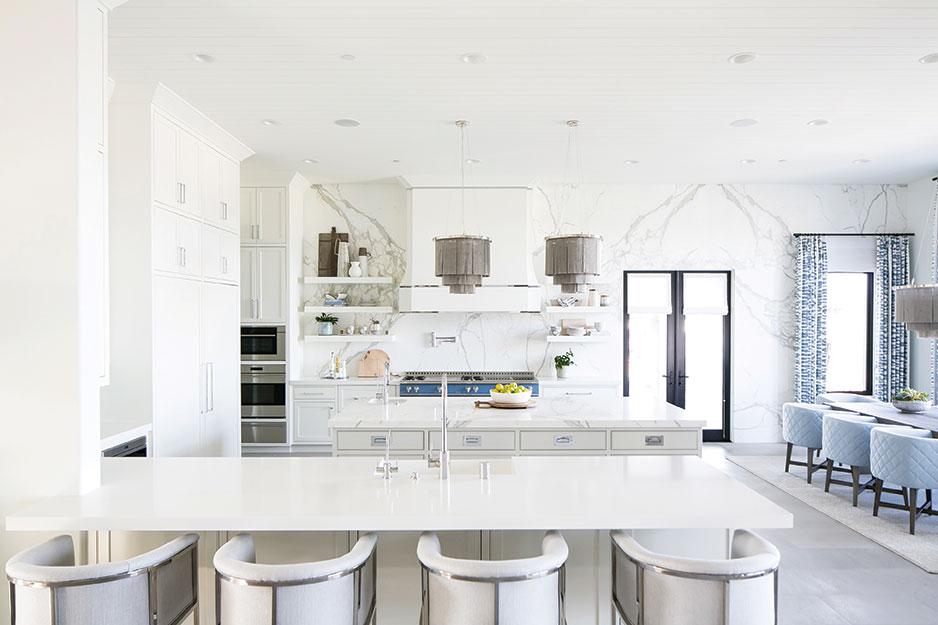 statement kitchen blue stove