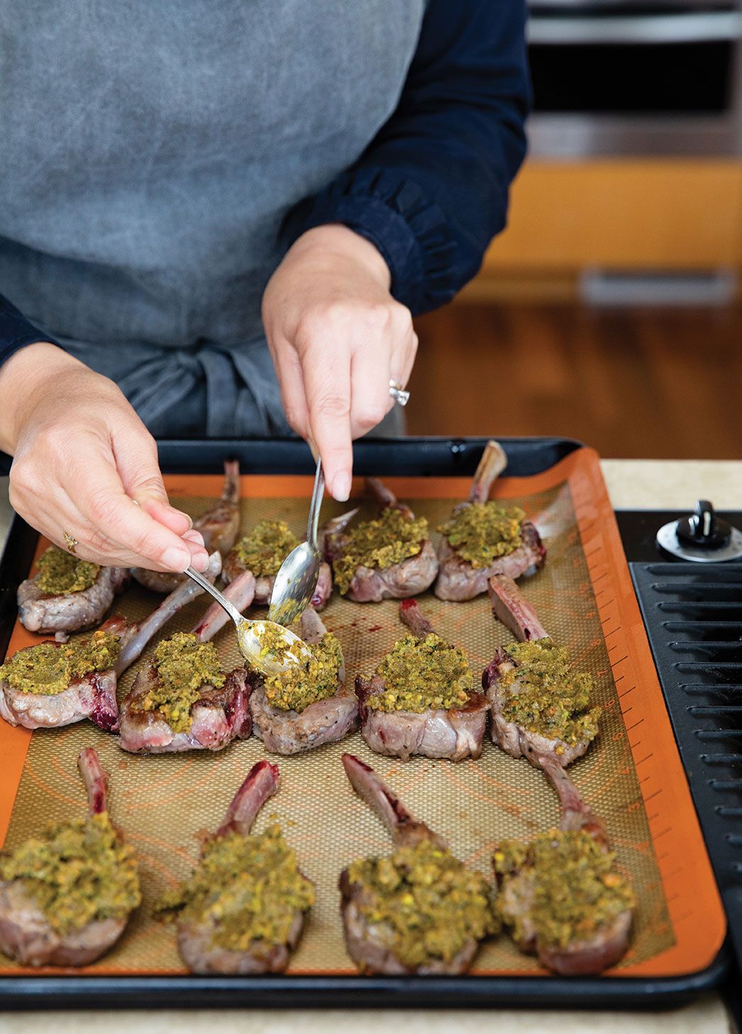 lamb chops with pistachio tapenade