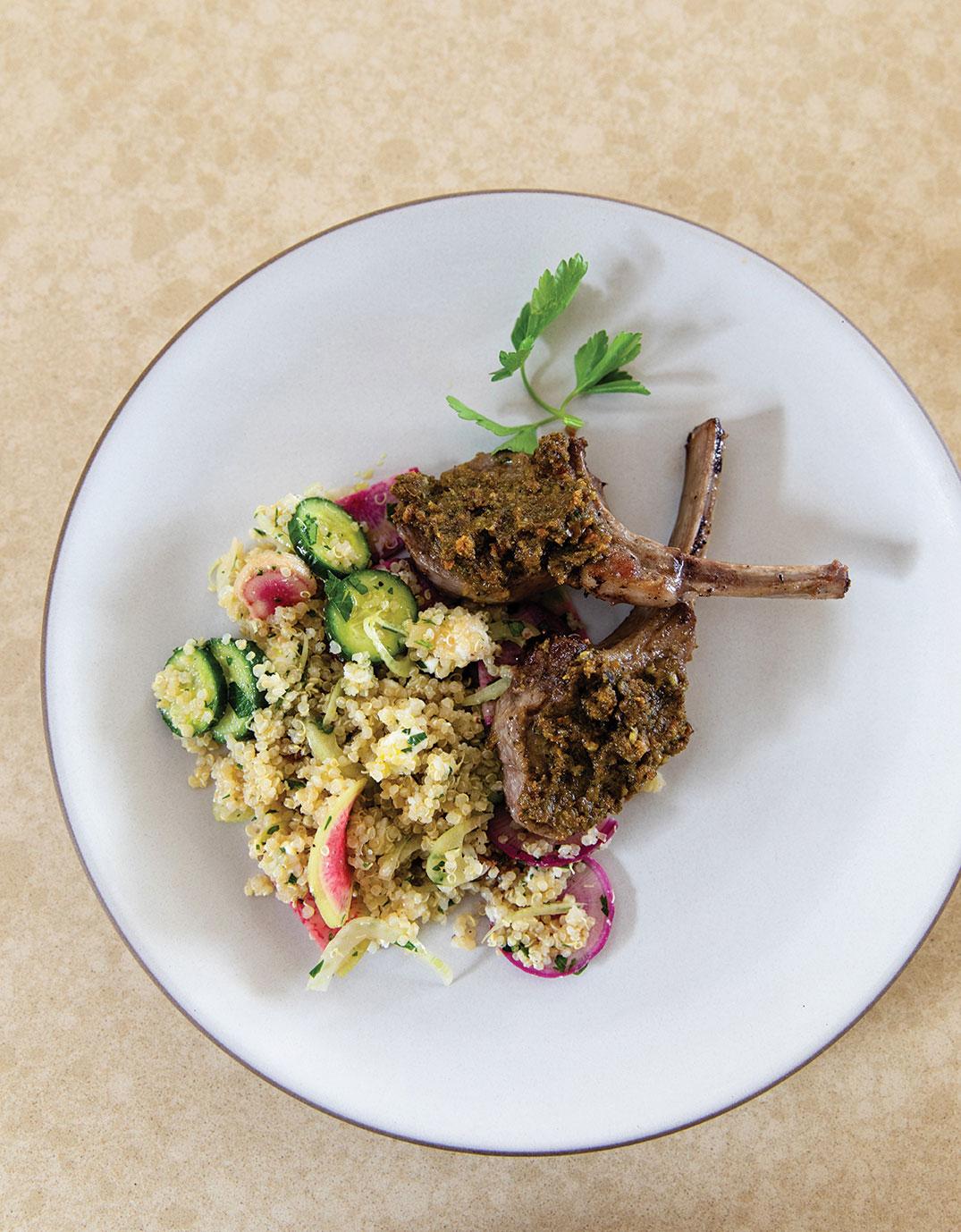 lamb chops pistachio tapenade and quinoa sherry with sherry lemon vinaigrette