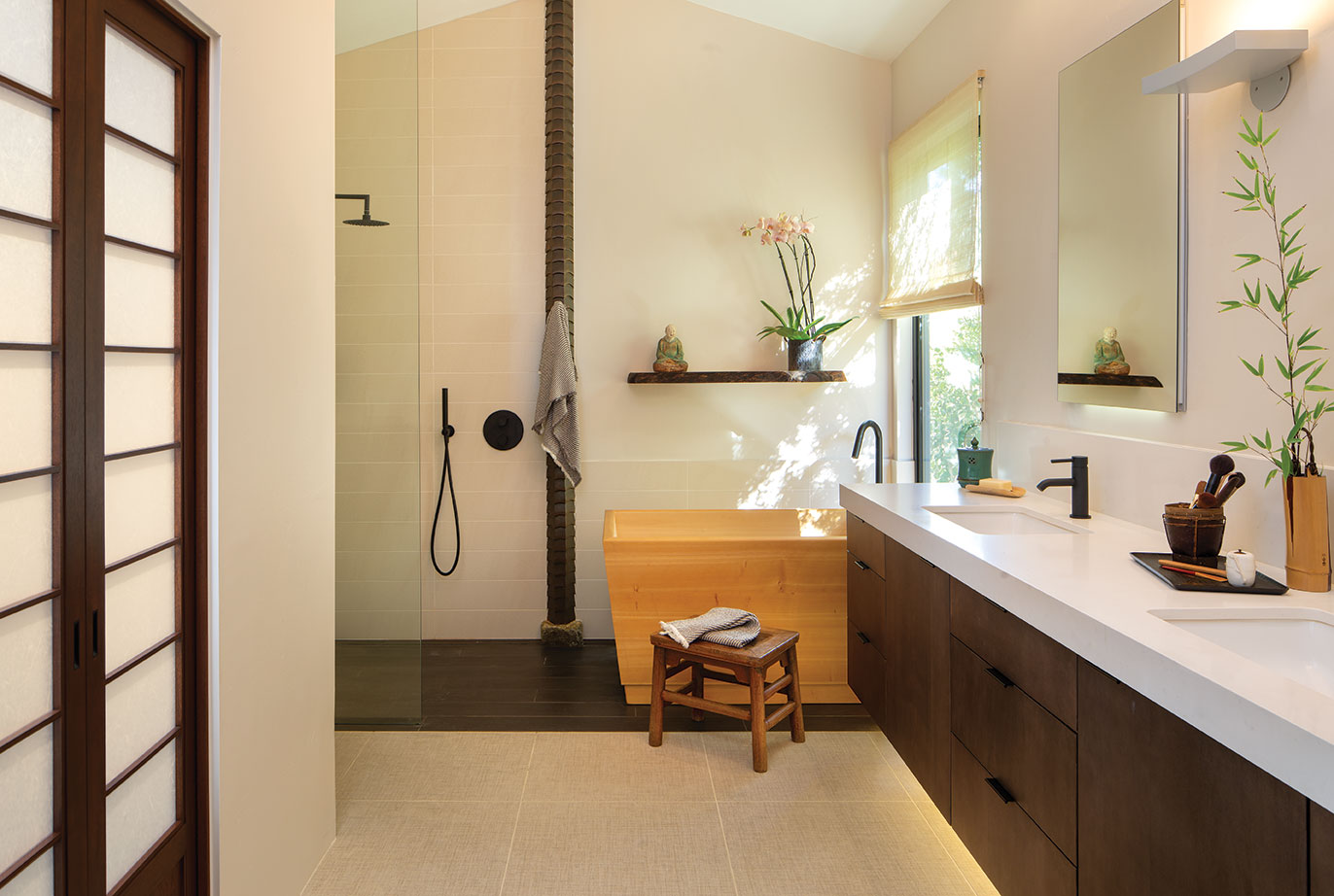 zen bathroom japanese asian hinoki ofuri soaking tub bathtub remodel tatami