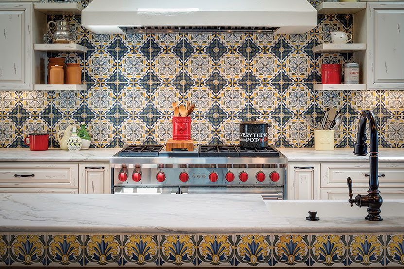 vintage spanish tile bright color kitchen