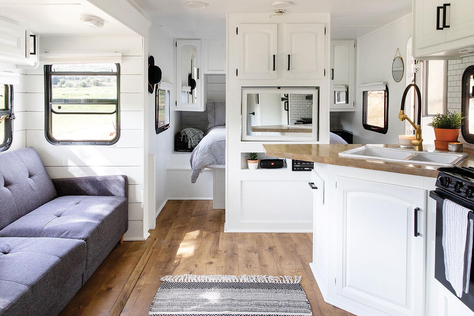 walker campers san diego trailer RV camper rental renovation design white interior