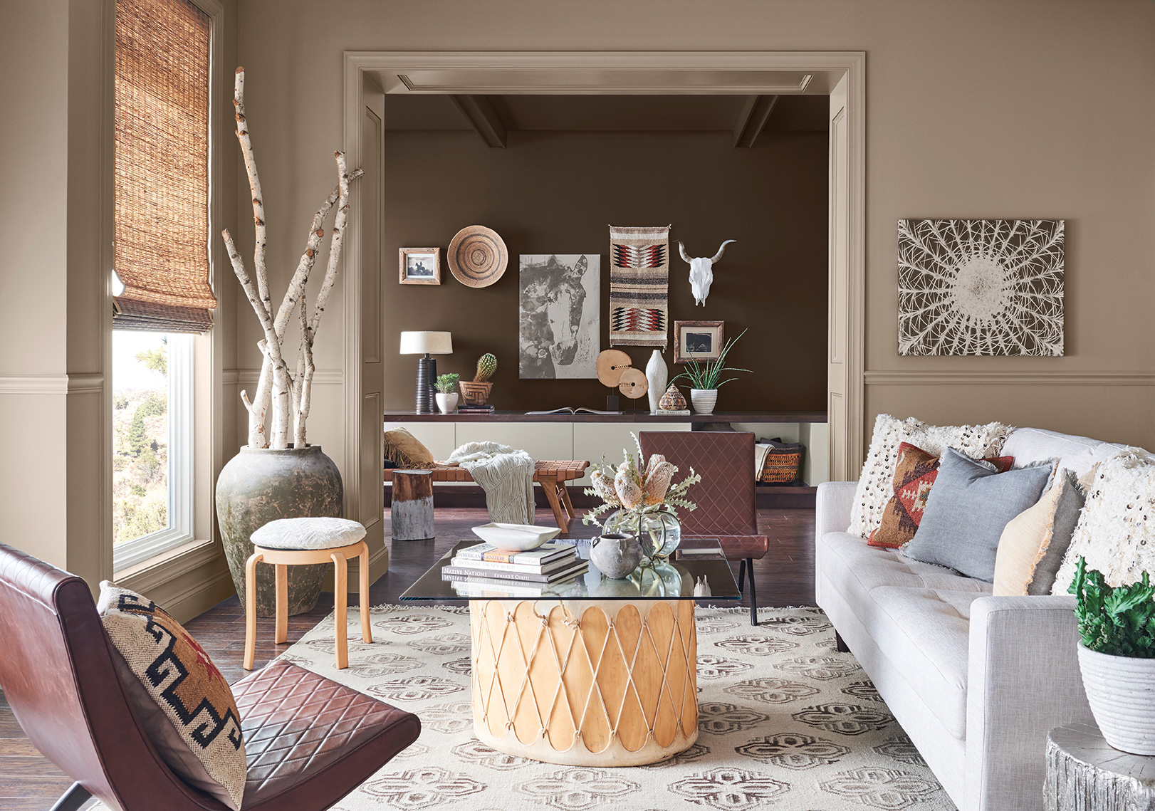 Sherwin Williams moth wing paint dark clove paint desert style southwestern style