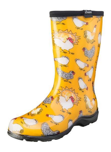 sloggers yellow chicken rain boots