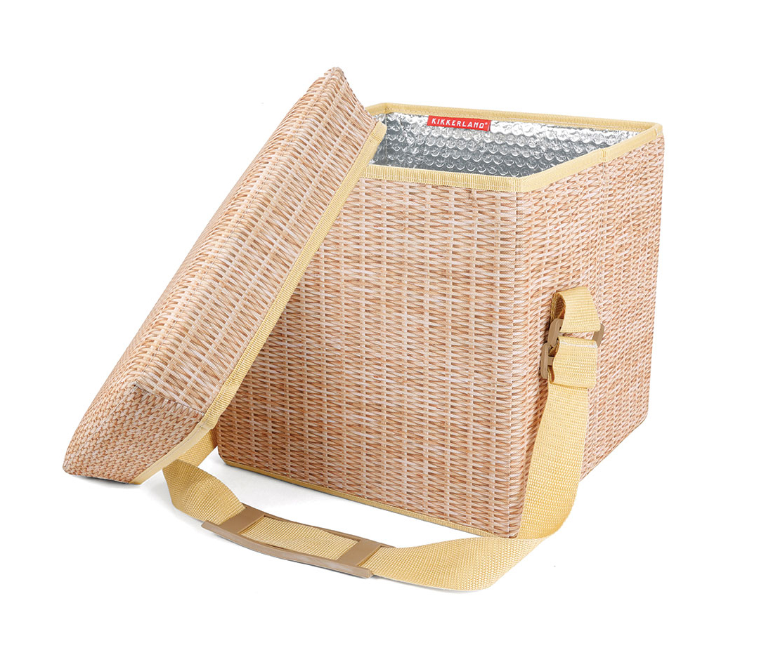 kikkerland wicker picnic cooler seat