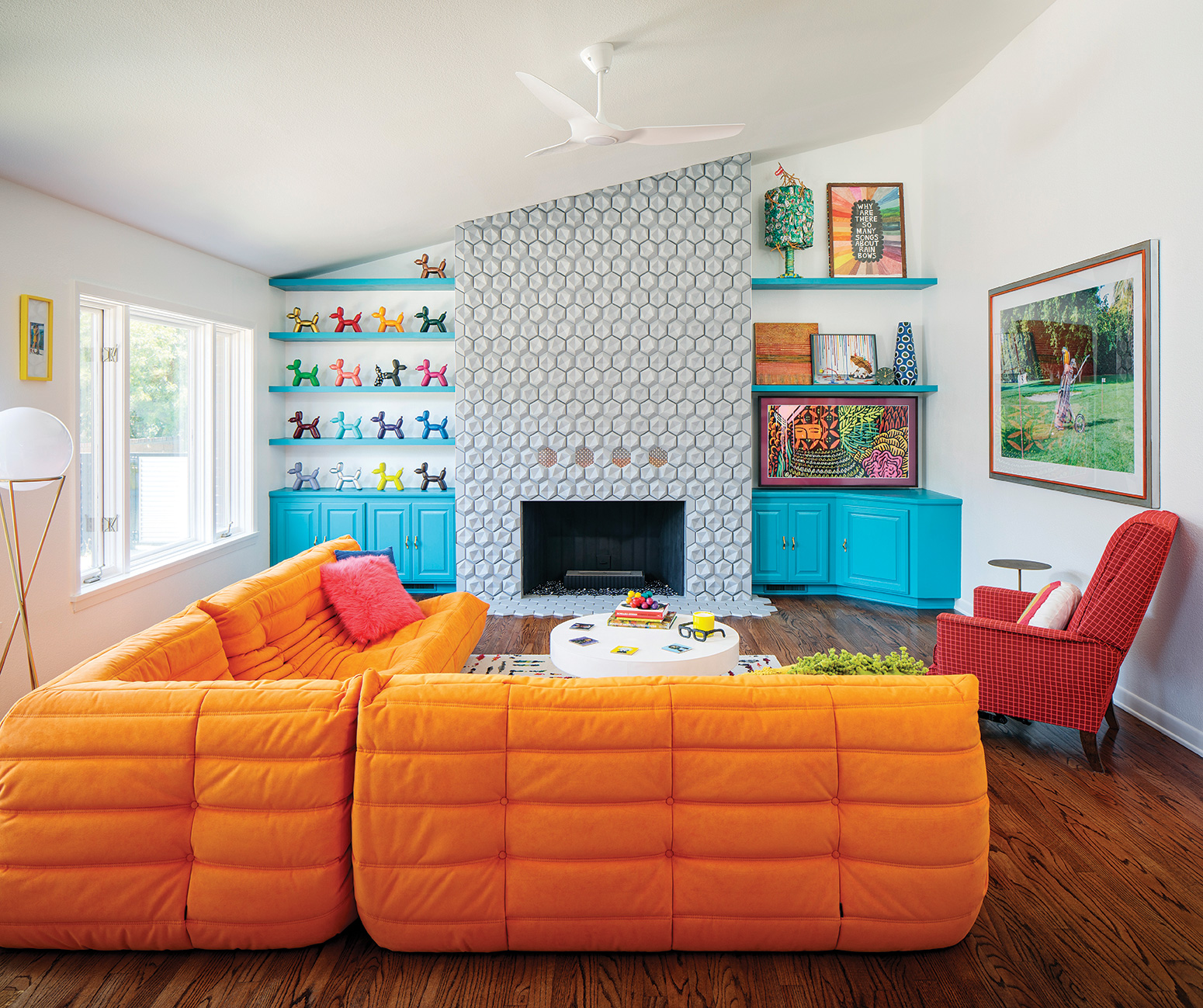 jenna pilant living room bright colored furniture and shelving