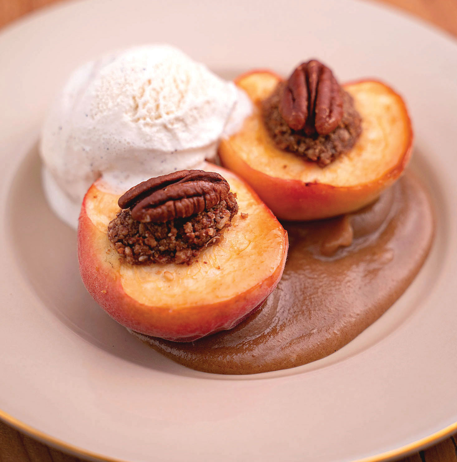 pecan stuffed baked peaches recipe