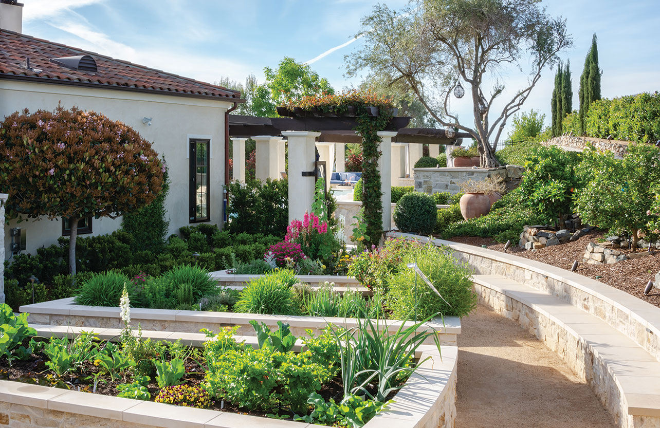 formal garden san diego seat wall