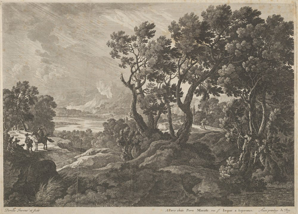 """A Landscape with Travelers at the Left,"" a 1660s etching by Adam Perelle, from The Metropolitan Museum of Art"