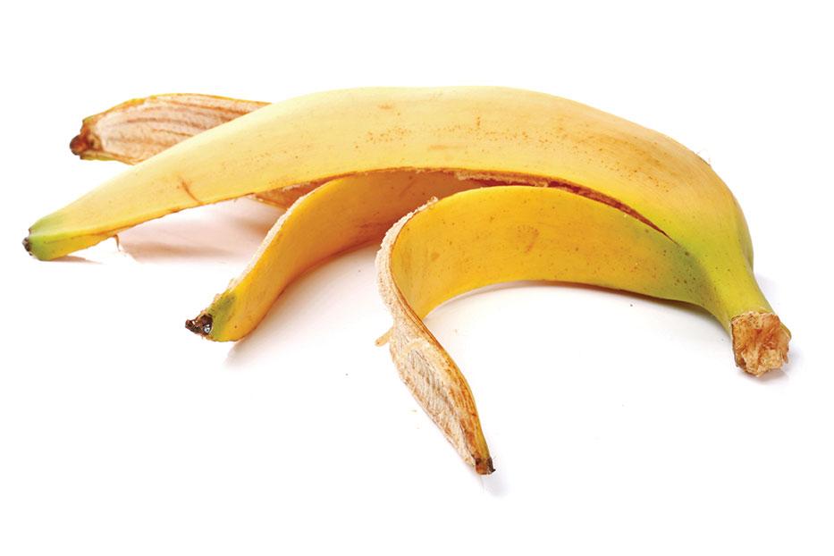 household items in the garden banana peel