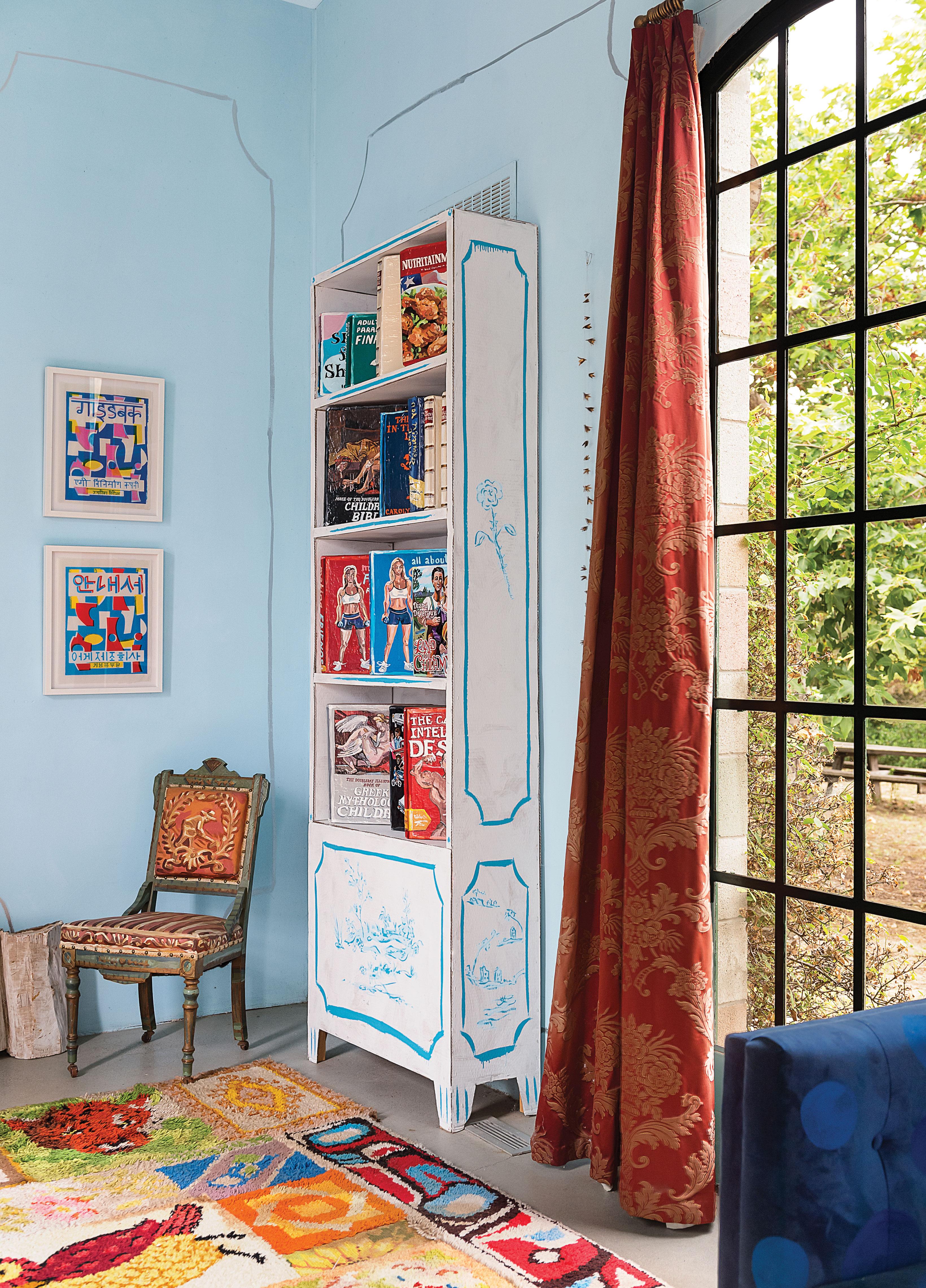 fun decor creative blue walls painted shelving