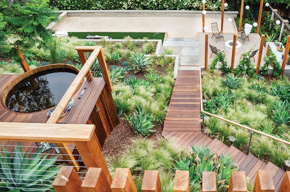 tiered garden tiers terraced terraces cedar hot tub ipe deck petanque court