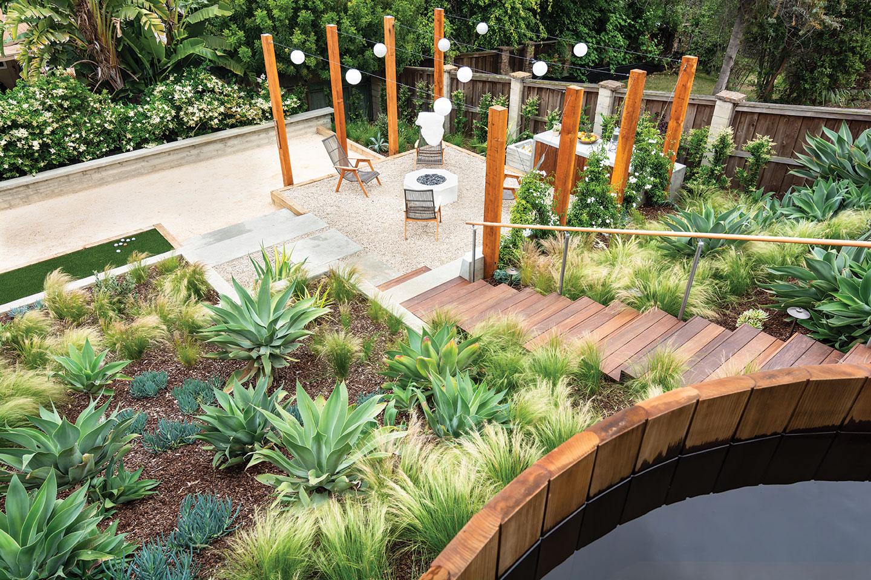 garden tiers terraced hot tub