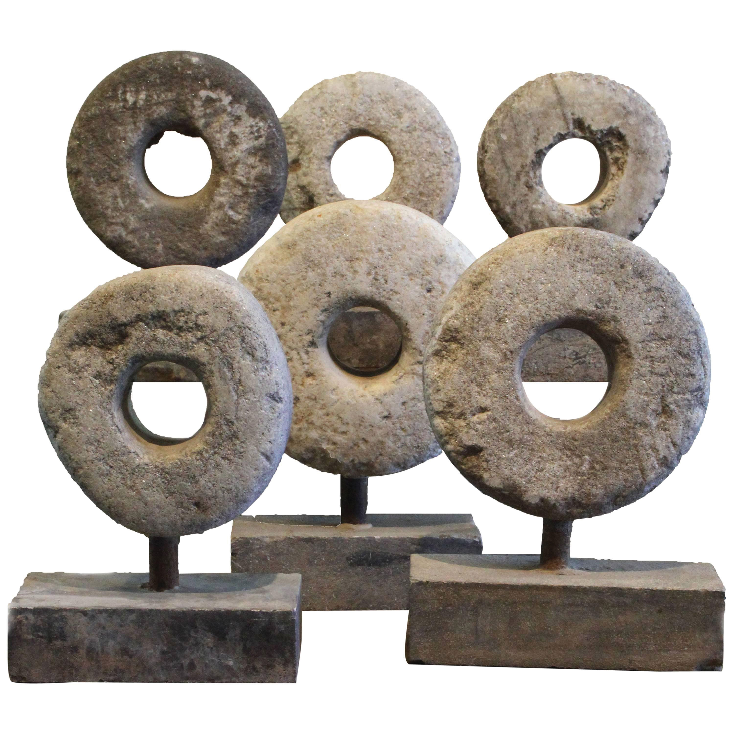 19th century french carved stone millstone spheres vintage decor