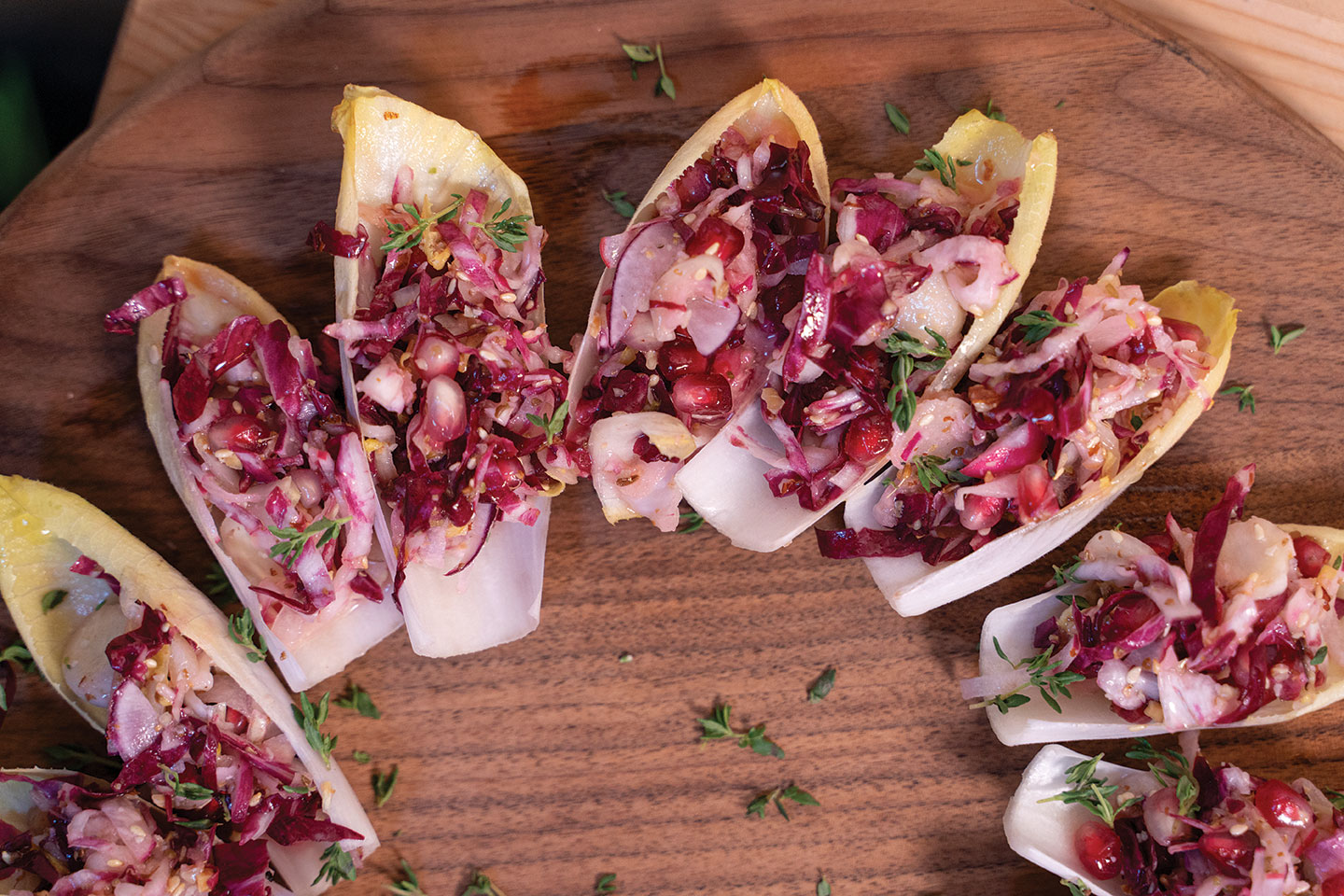 chicory salad and almond dukkah served in endive