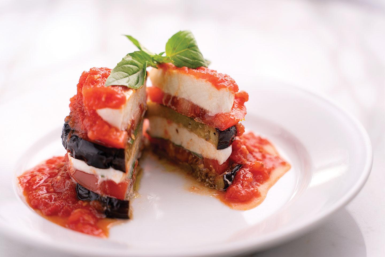 tomato eggplant mozzarella stack