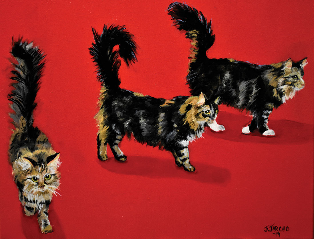 high tail it to breakfast cat painting on red background by judith jarcho san diego pet artist