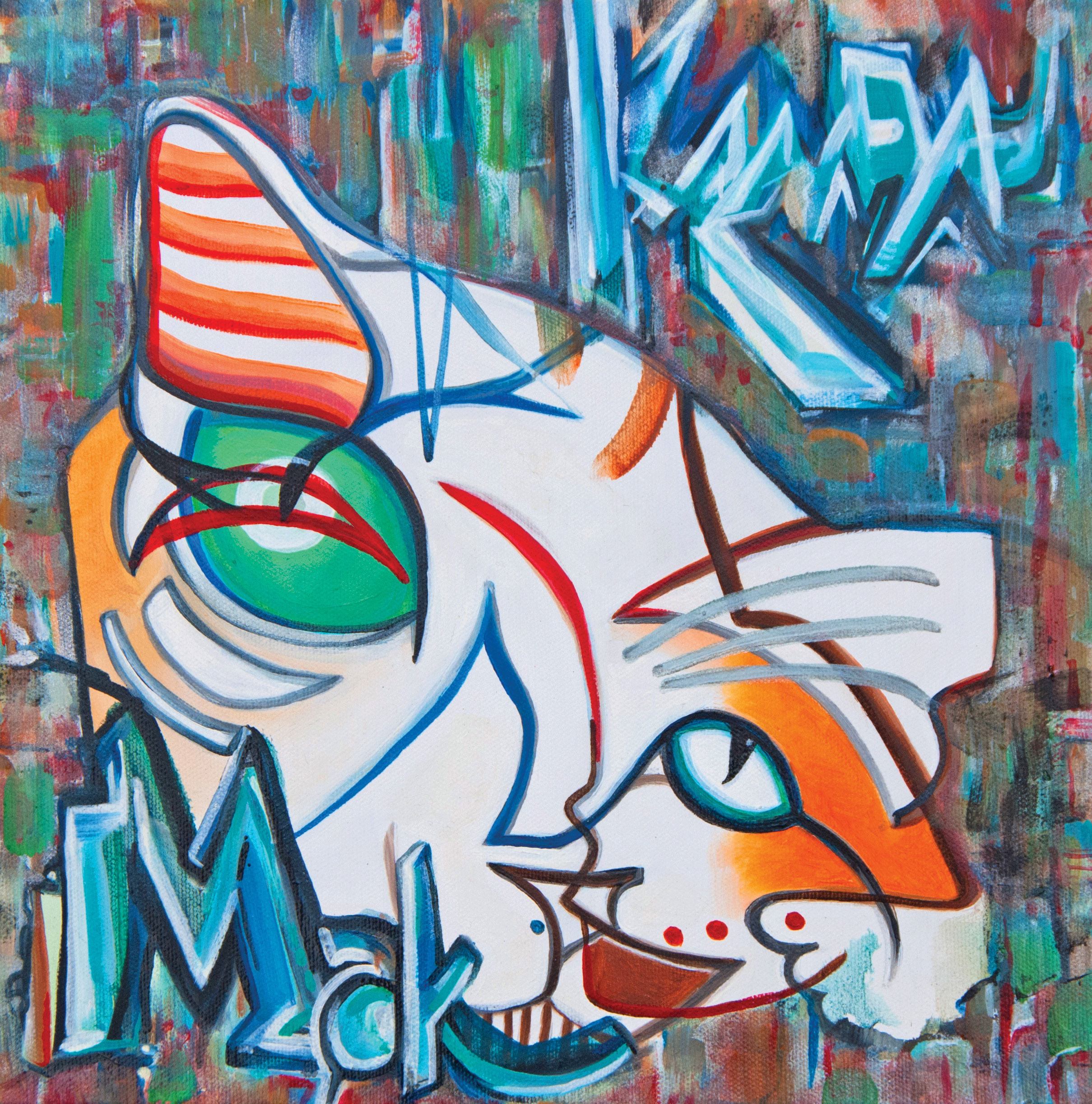 san diego pet artists makenda abstract cat painting by Kenda Francis